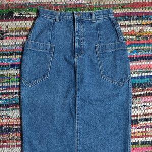 🐺 Vintage High Waisted Denim Pencil Skirt 🐺